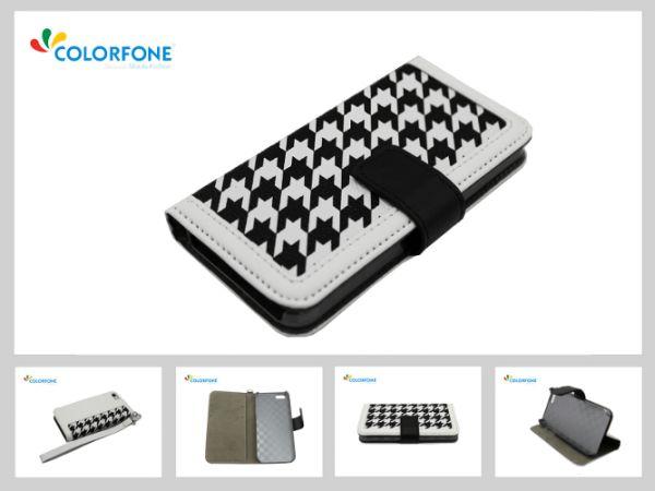 Leather3 Fall für<br> Apple iPhone 5/5 S<br>Schwarz + Wei