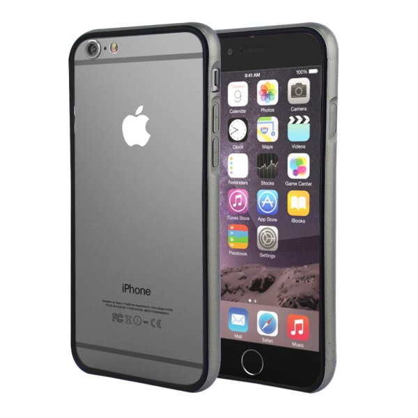 Color Bumper Case<br> for iPhone 6 Plus<br>Grey + Black