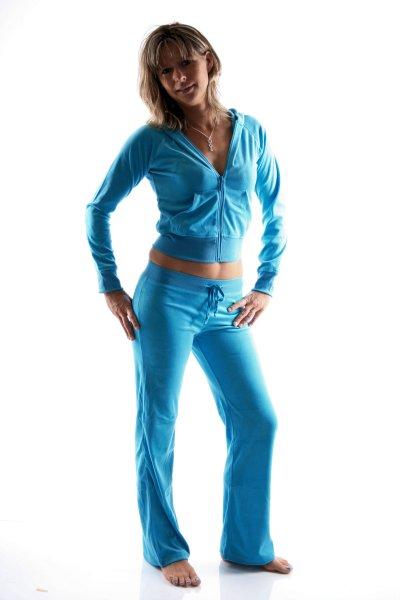 Damen Homewear Anzug aus Nickiplüsch (Türkis)