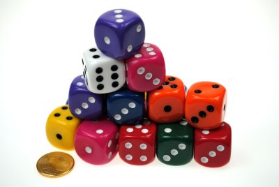 Dice 16mm assorted<br>colors