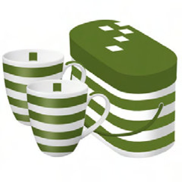 Mug in box green<br>stripe of 2