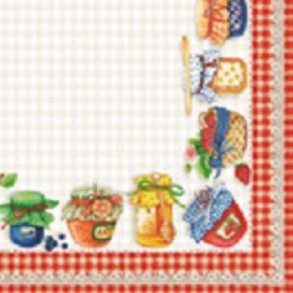 Serviette<br> Breakfast red 25x<br>25cm