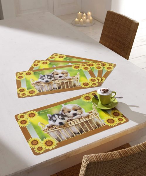 Tischset Welpen<br>4er Set 43,5x 28cm