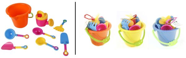 Beach toys bucket<br>with set of 8