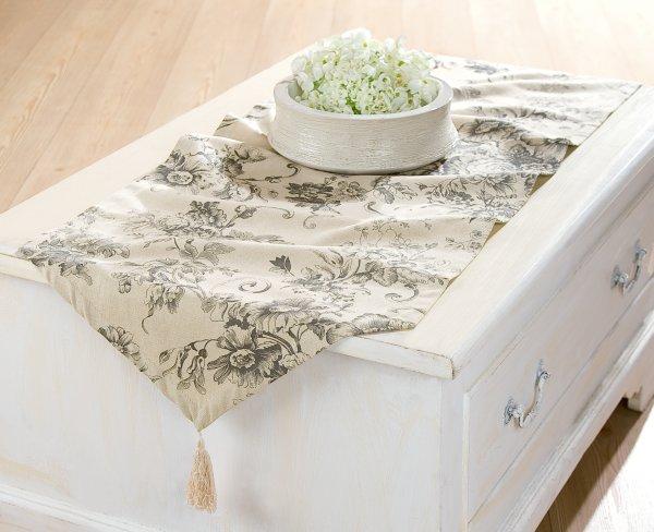 Textil Tischläufer<br>mit Quaste 150x 45cm