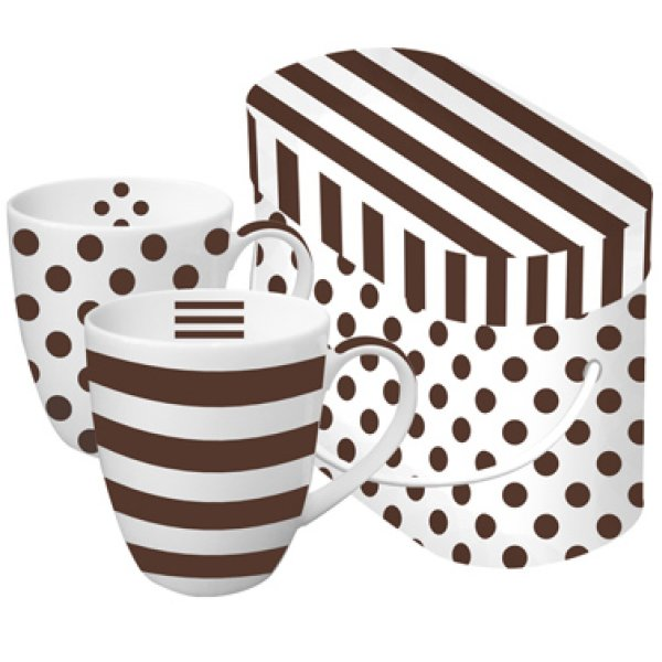 Mug in Box Brown<br> &amp; white<br>porcelain