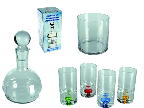 Glass decanter<br> with 4 glasses<br>Eiswürf