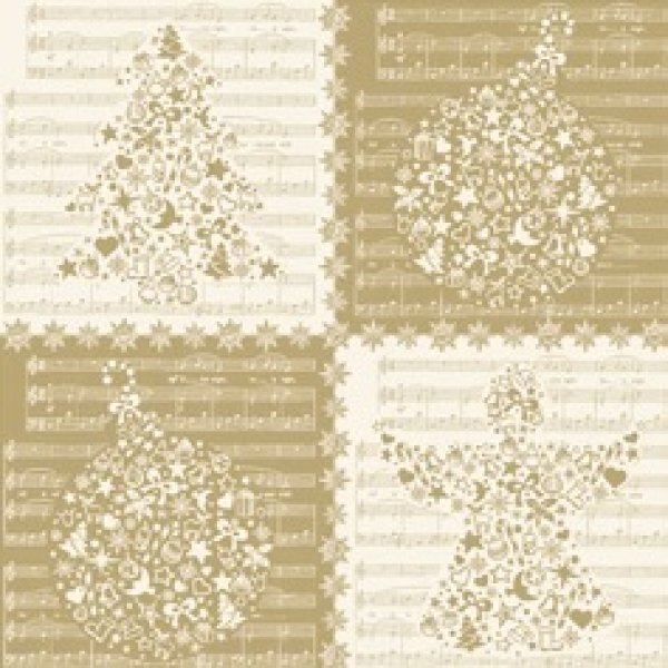 Serviette Just 4<br>X-Mas Gold  33x 33cm