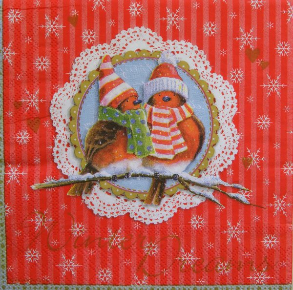 Serviette  Winter<br>Dreams red  33x 33cm