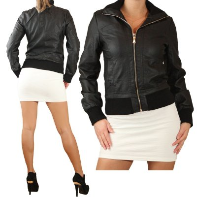 SYNTHETIC LEATHER<br> JACKET LADIES<br>LEATHER JACKET - L