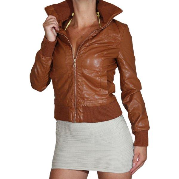 Kurtka skórzana<br> damska Faux<br> Leather Look ...
