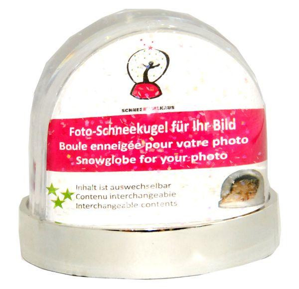 Foto-Schneekugel Sockel silber/Glitzer – Display