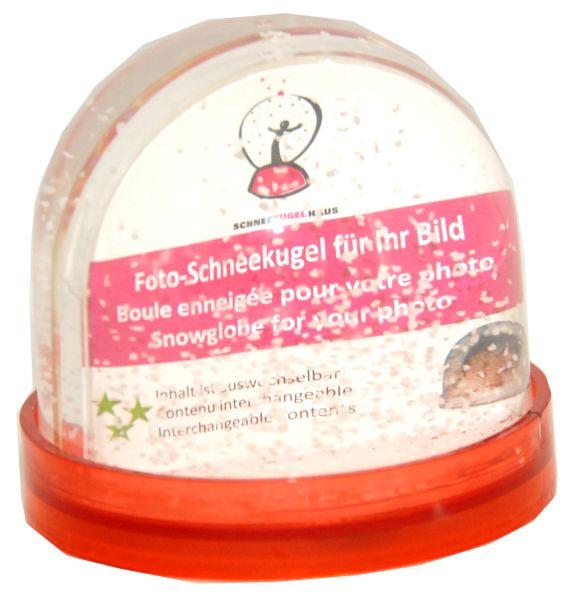 Foto-Schneekugel Sockel rot/Schnee – Display