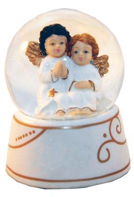 Mini-Schneekugel Zwei Engel weiß/gold 65mm