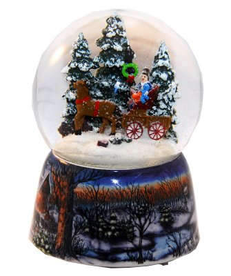 Snowglobe sleigh -<br> Rotary Music Box<br>H: 140mm