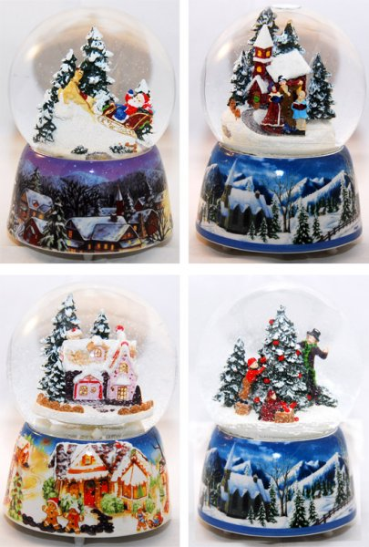 4 snow globes<br> nostalgia 140mm -<br>sorted