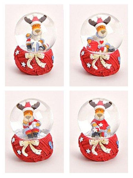 Schneekugel Weihnacht Elch mit Strickschal 45mm