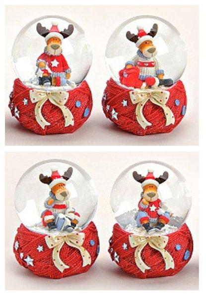 Snow Globe Boże Narodzenie łoś z dzianiny szalik 6