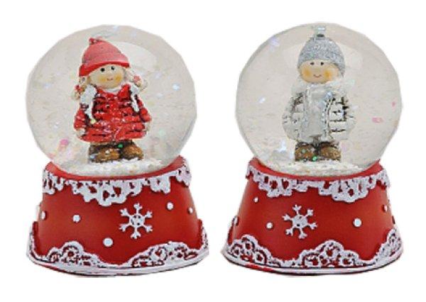 Mini-Schneekugel Winterkind rot grau 45mm