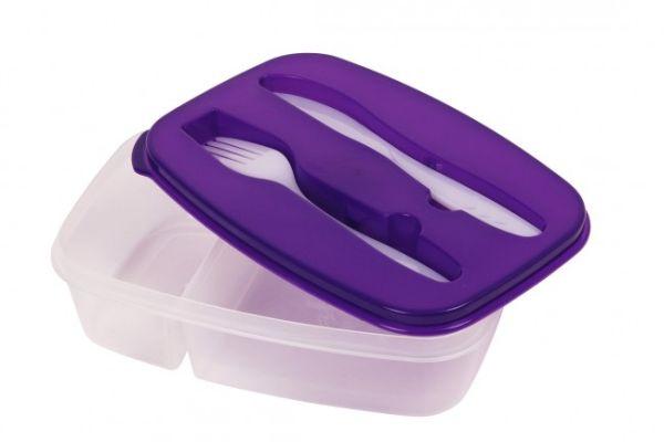 Brotdose mit<br> Besteck Lunchbox<br> Lila