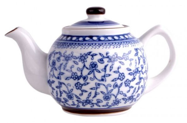 Porzellan<br> Teekanne 750 ml<br>blau / weiß
