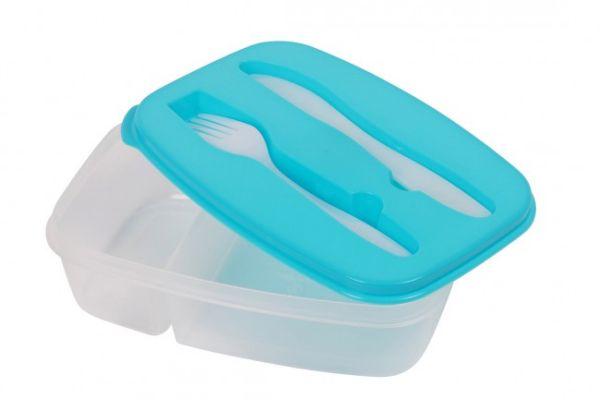 Brotdose mit<br> Besteck Lunchbox<br> Blau