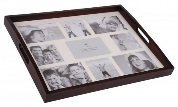 Noble photo tray<br> with photo gallery<br> Dark Brown
