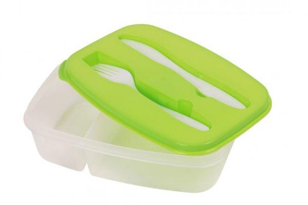 Brotdose mit<br> Besteck Lunchbox<br> Grün