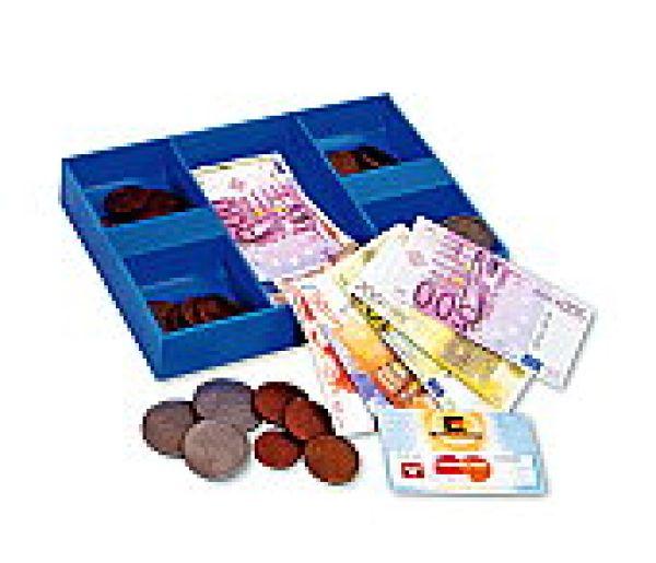 Spielgeld inklusive Kaufladentüten, Kaufladenzubeh