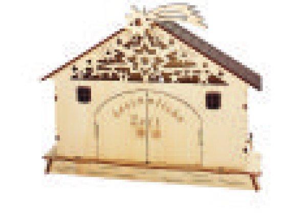 Holzkrippe Spieluhr mit Licht