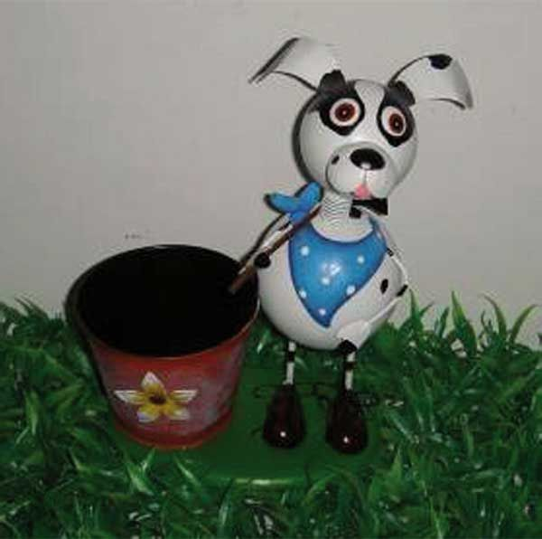 Dog with scarf and<br>a flower pot