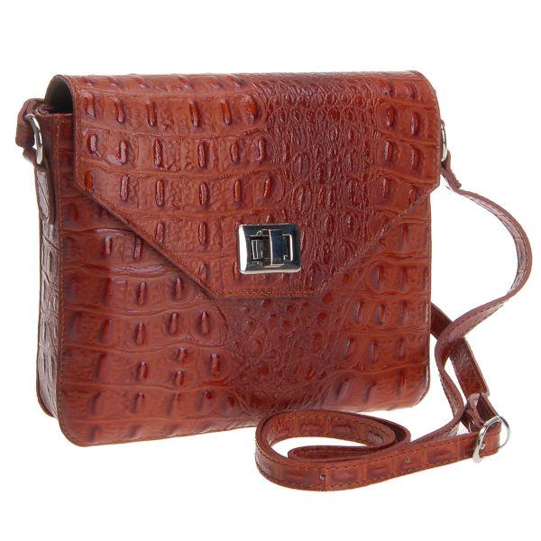 Echtleder<br> Messenger Tasche<br>Damentasche Kastanie