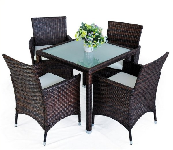 4 +1 Brown POLY RATTAN GARDEN FURNITURE GARDEN Gar