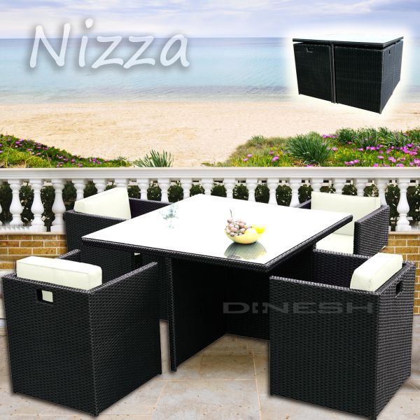 NICE wicker BLACK<br> POLY RATTAN GARDEN<br>FURNITURE