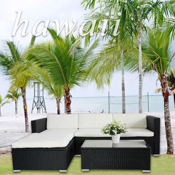 (6034) POLY RATTAN<br>Lounge Black