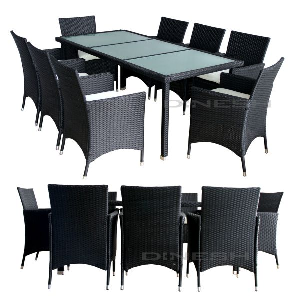 DALLAS POLY RATTAN<br> GARDEN FURNITURE<br>BLACK GARTENGA