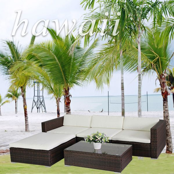 (6034) POLY RATTAN<br>Lounge Brown