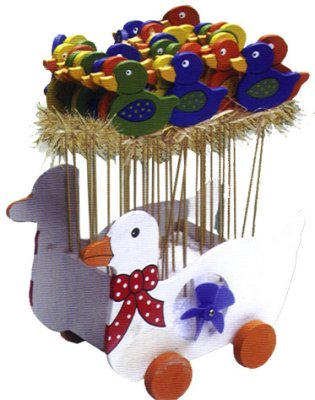 Wood plug duck<br> motif summer<br>garden decoration