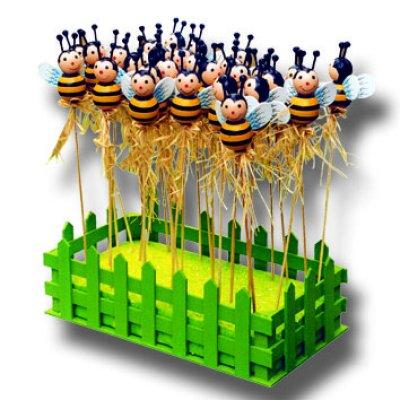 Holzstecker Tiere Biene  Sommer Garten Deko