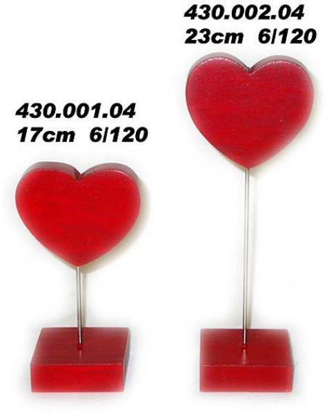 Holz Herz Rot Ständer mit Fuß 23 cm f. Geburtstag,