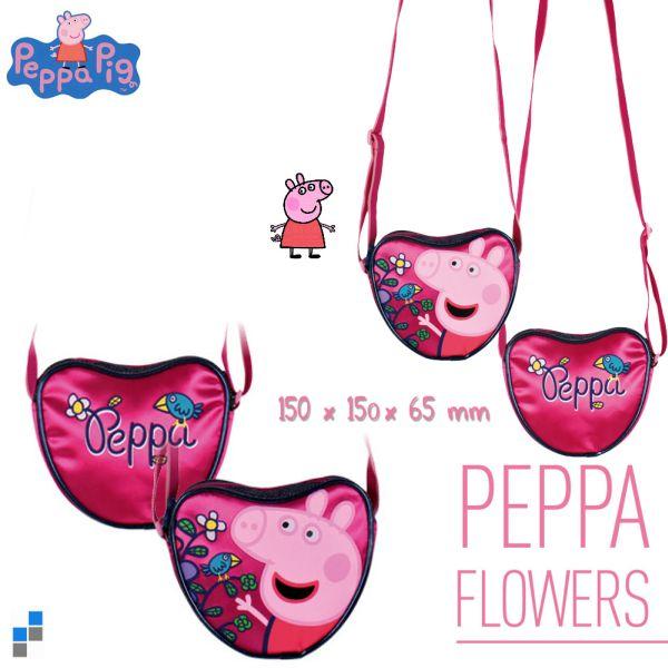 Torba na ramię<br> Serce 15cm Świnka<br>Peppa Kwiaty