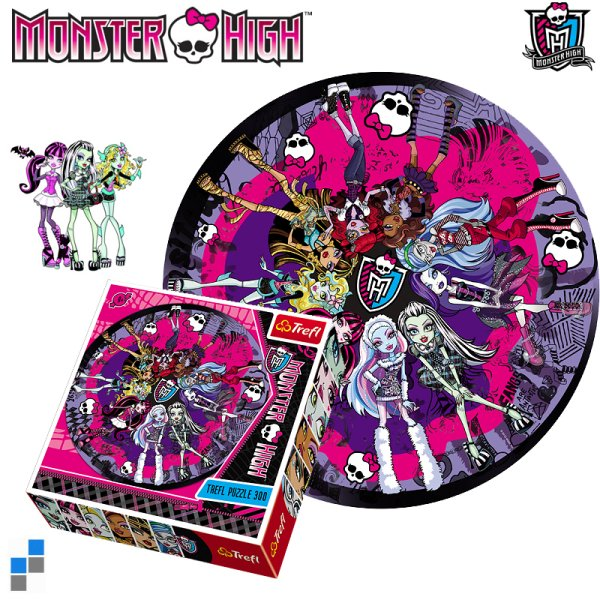 Puzzle rund<br> 300-teilig Ø68cm<br>Monster High