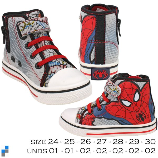Canvas basketball<br> shoes size 24-30<br>Spiderman