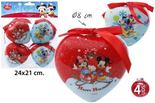 Décorations de Noël Arbre Ø8cm 4 pièces Mickey