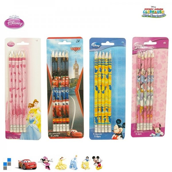 Crayons 5 pièces en blister Disney triés