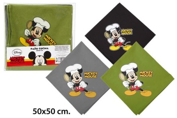 Kitchen towel<br> 50x50 3 assorted<br>Disney Mickey