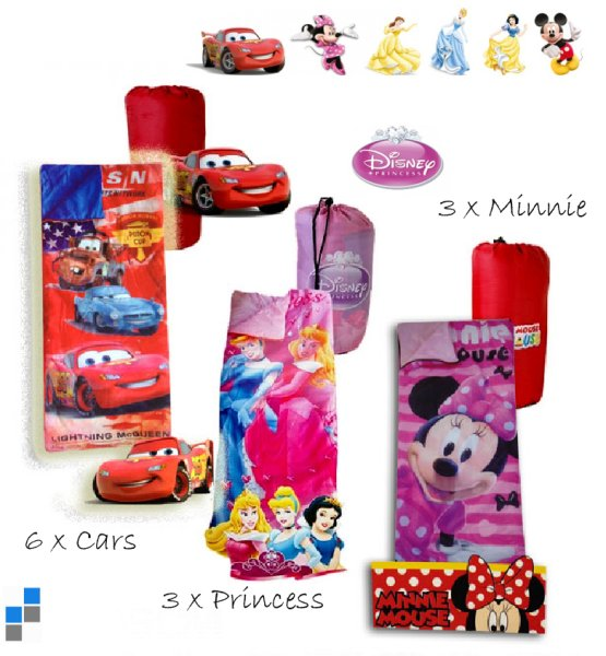 Sleeping Bag<br> 150x65cm 3<br>assorted Disney