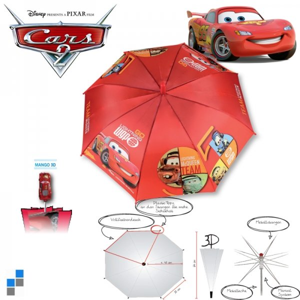 Children Umbrella<br> Cars with 3D Mango<br>McQueen attac