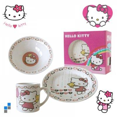 Frühstücksset<br> 3-teilig Porzellan<br>Hello Kitty