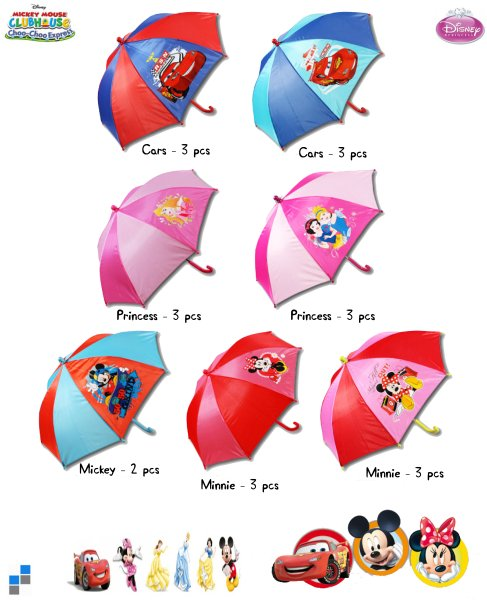Enfants Umbrella r37cm 7 assortis Disney